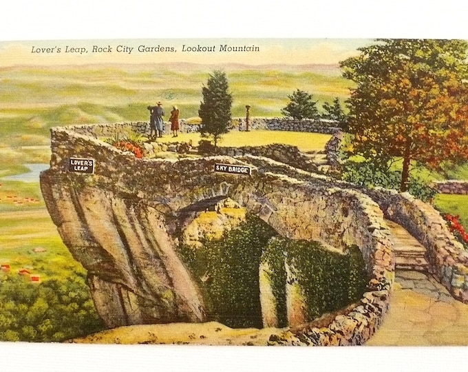 1948 Lover's Leap Rock City Gardens Lookout Mountain Vintage Postcard Posted
