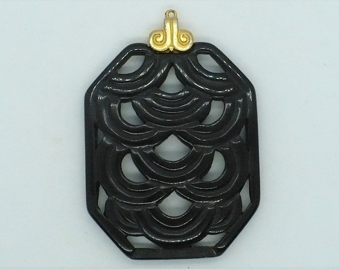 Carved Chinese Black Lacquer Cinnabar Amulet Vintage Jewelry