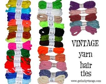 1970's Vintage Yarn Hair Ribbons Ties Back to School Retro Gertie Cosplay