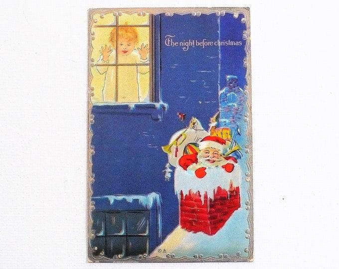 1910 Santa Chimney Night Before Christmas Greetings Holiday Embossed Vintage Postcard Posted