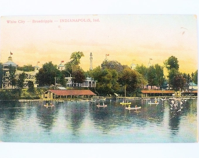 1907 White City Amusement Park Canoes Roller Coaster Broadripple Indianapolis Indiana Vintage Postcard Posted