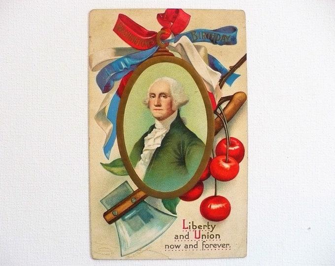 1912 Clappsaddle Patriotic Washington's Birthday Liberty Embossed Vintage Postcard Posted