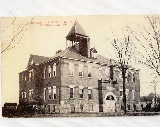 1909 Russiaville Public School Indiana Vintage Postcard Posted
