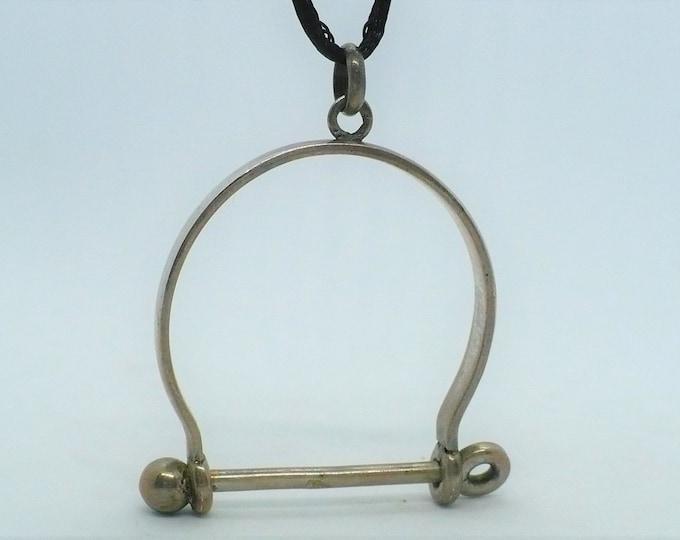 Large Silver Stirrup Pendant Vintage Equestrian Jewelry