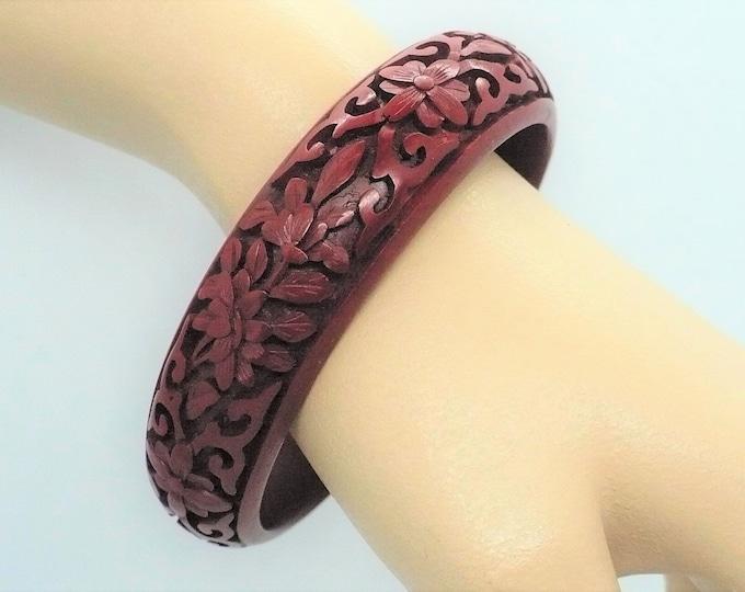 Carved Cinnabar Lacquer Floral Bangle Bracelet