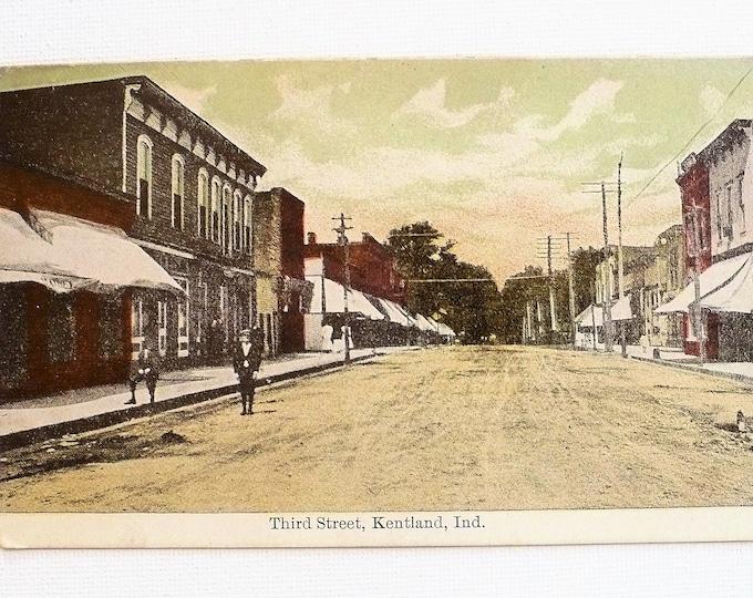 1909 Kentland Indiana Third Street Vintage Postcard Posted