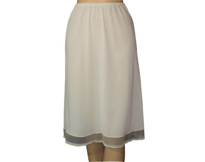 Organdy Lace Trimmed Nylon 1950's Vintage Half Slip
