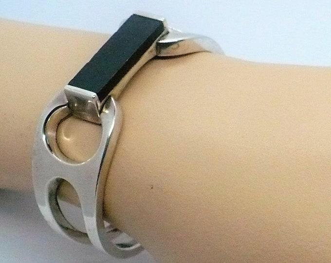 Royal Ebony Wood Inlay Silver Bangle Bracelet Industria Argentina Vintage Jewelry