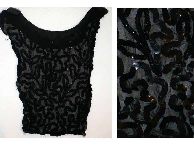 Edwardian Art Nouveau Silk Chiffon Black Sequin Bib Collar