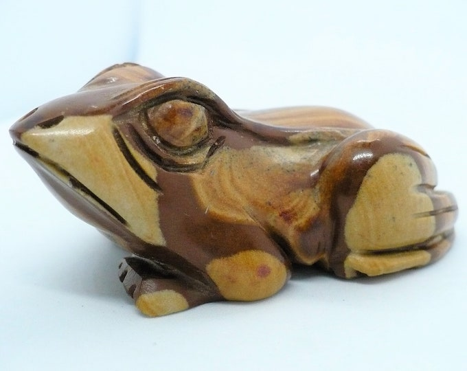 Carved Petrified Wood Frog Toad Fetish Figurine