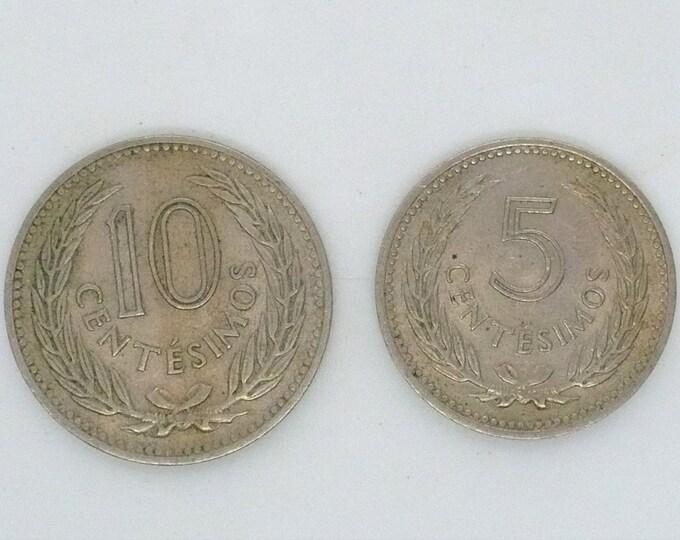 Uruguay 1953 10 Centesimos and 5 Centesimos Coin