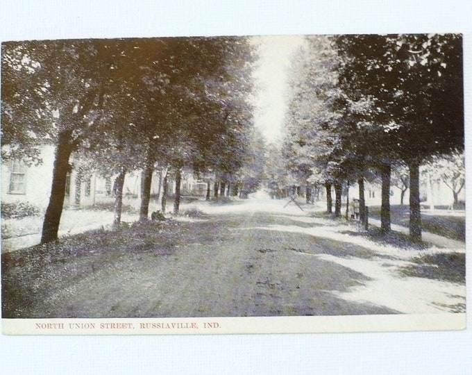 1909 Russiaville Indiana North Union Street Vintage Postcard Posted