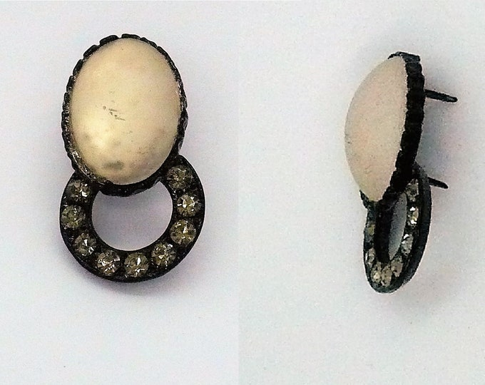 Victorian Japanned Vintage Diamante Frosted Glass Brad Ornament Pin