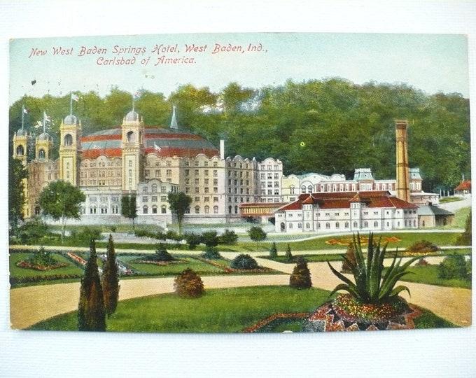 1909 New West Baden Springs Hotel Indiana Vintage Postcard Posted