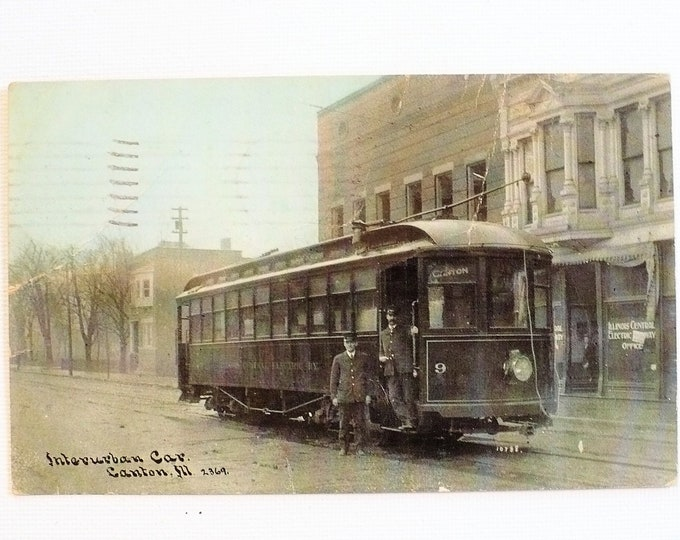 1909 Streetcar Operators Interurban Car Canton Illinois Vintage Postcard Posted