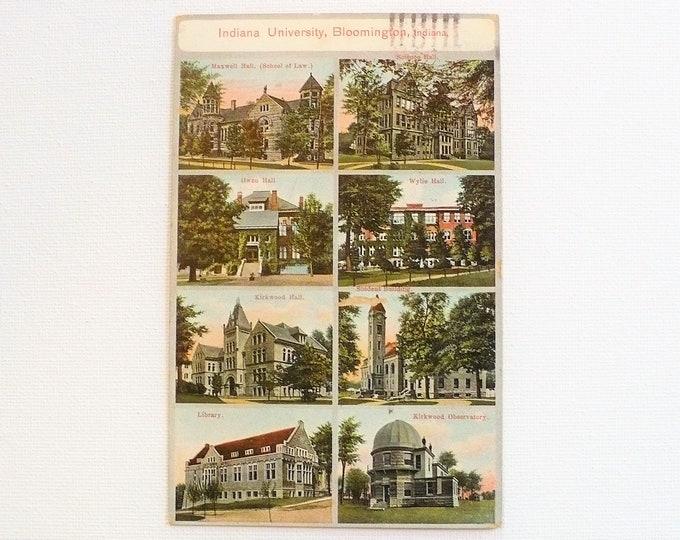 1909 Indiana University Buildings Bloomington Vintage Postcard Posted