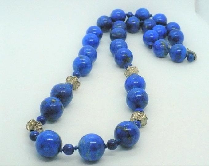 Lapis Lazuli Gemstone Bead Necklace 28 inch