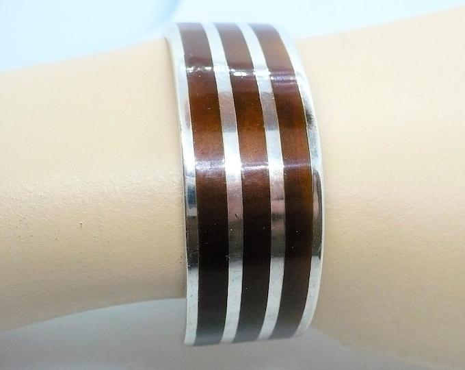 Sturdy Sterling Silver Enamel Cuff Bracelet