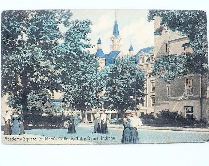 1908 St Mary's Women's College Academy Square Notre Dame Indiana Vintage Postcard