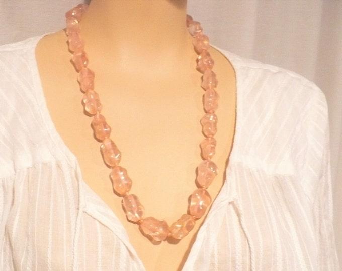 Rose Quartz Gemstone Bead Necklace 25 inch