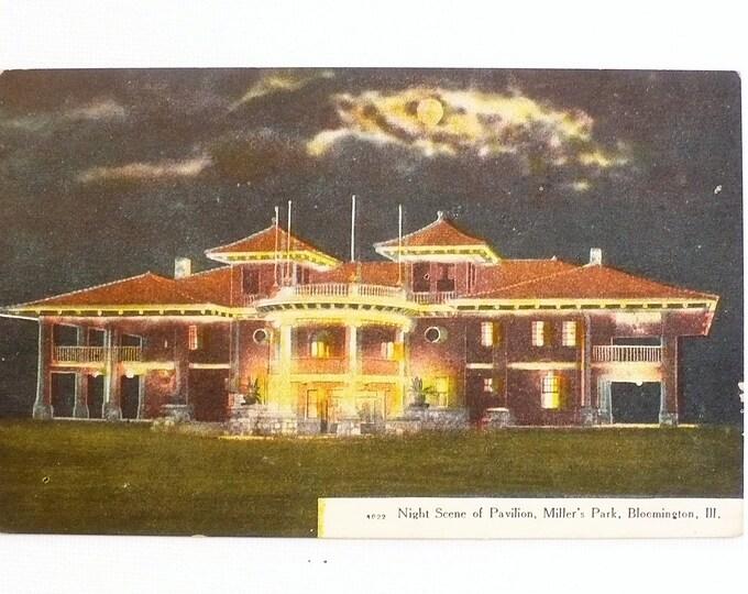 1909 Night Scene Pavilion Miller's Park Bloomington Illinois Vintage Postcard Posted