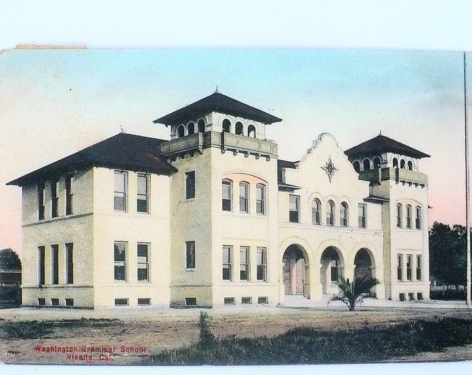 1908 Washington Grammar School Visalia California Vintage Postcard