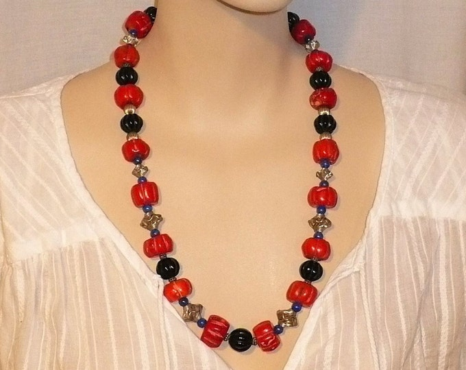 Fluted Red Bamboo Coral Lapis Onyx Silver Bead Necklace 25 inch