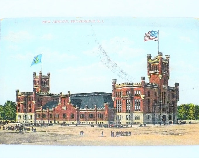 1907 New Armory Providence Rhode Island Vintage Postcard Posted Olneyville Station Flag Cancel