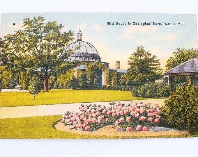 1930s Bird House Zoological Park Detroit Michigan Vintage Linen Postcard Unposted