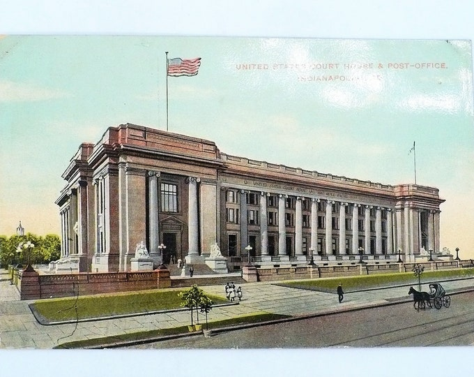 1907 US Courthouse Post Office Indianapolis Indiana Vintage Postcard Unposted