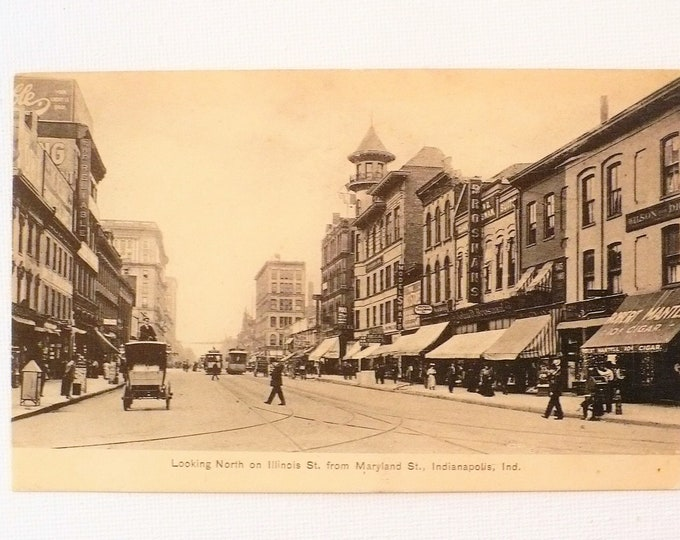 1909 Trolley Robert Mantel 10 cent Cigar Store Street Scene Indianapolis Indiana Vintage Postcard Posted