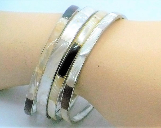 Four Mother of Pearl Abalone Silver Bangle Bracelets Vintage Jewelry