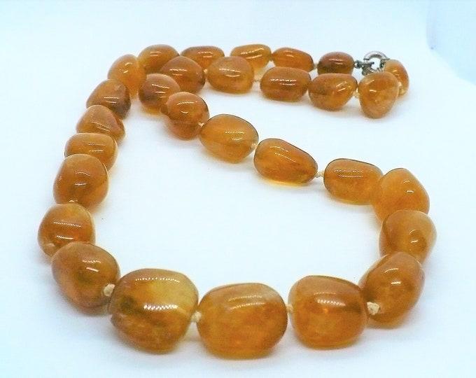 Honey Calcite Citrine Nugget Bead Necklace 25 inch