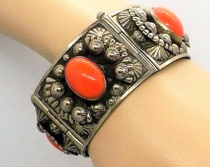 Mid Century Coral Silver Panel Bracelet Vintage Jewelry