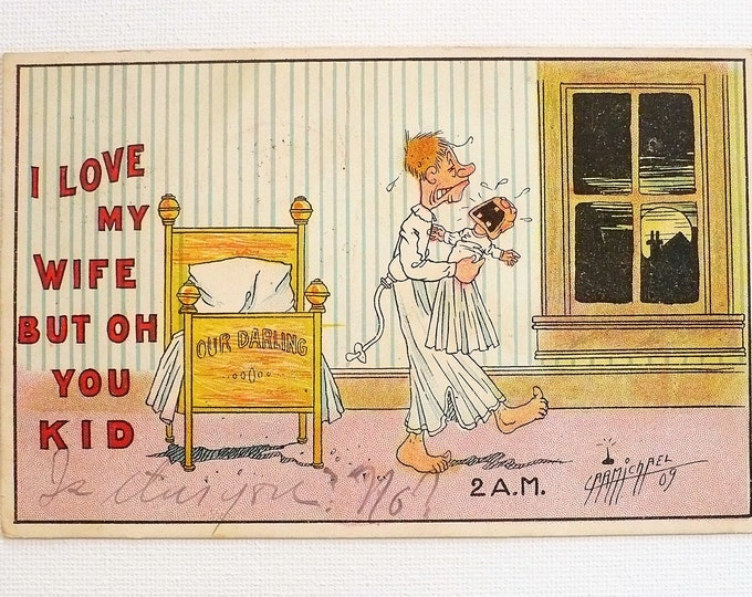 1909 I Love My Wife Carmichael Ind Peoria RPO Comic Vintage Postcard Posted