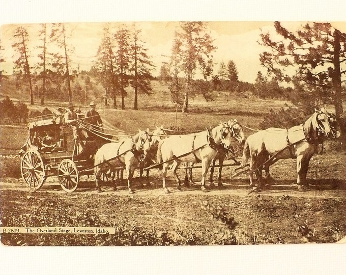 1909 Overland Stage Coach Horses Old West Lewiston Idaho Vintage Postcard Posted