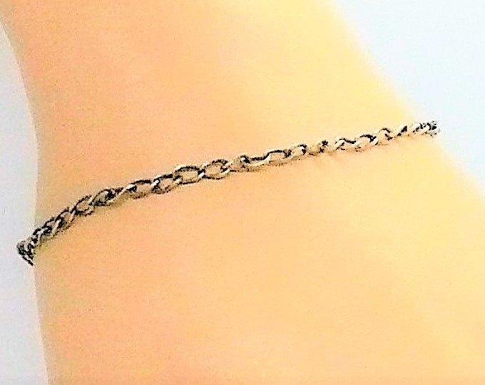 1940's Siam Silver Sterling Chain Link Charm Bracelet Vintage Jewelry
