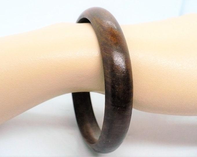 Teak Wood Half Round Bangle Bracelet