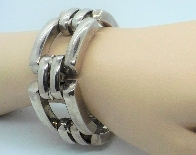 S'Paliu Bracelet Mens Sterling Silver Spain Modernist 9 inch 4oz Vintage Jewelry