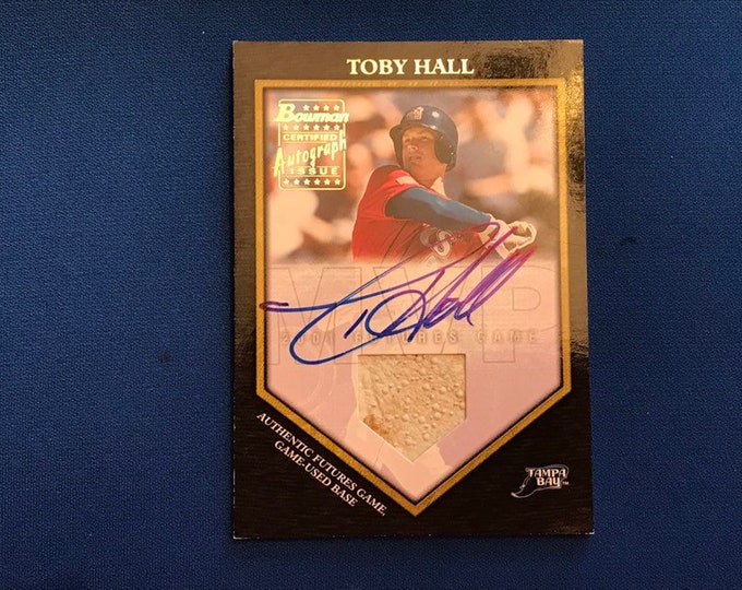2002 Bowman Game-Used Base Card Autographed #FGAB-TB Toby Hall T Rays Used Relics Vintage Baseball Card