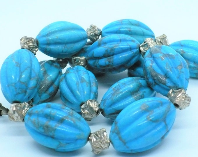 Turquoise Howlite Sterling Bead Necklace 20 inch