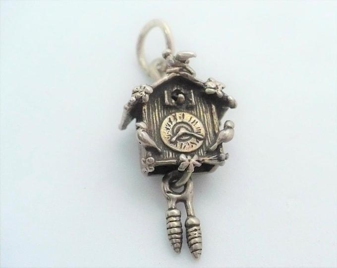 Cuckoo Clock Charm Vintage Mechanical Silver Charm