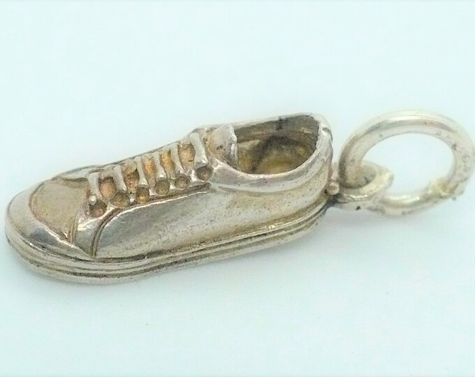 Vintage Sneaker Tennis Shoe Silver Charm