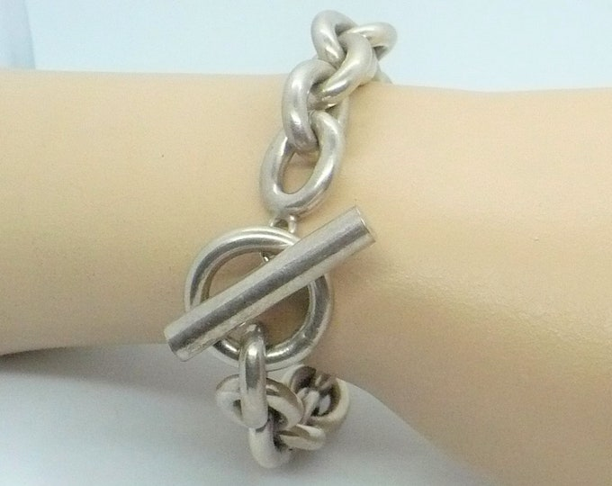 Oval Rolo Toggle Chunky Sterling Silver Link Bracelet - Super Solid & Heavy Vintage Jewelry