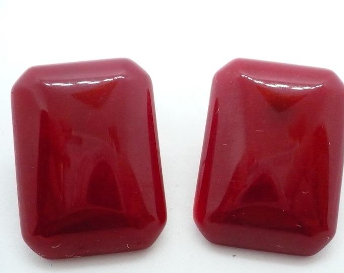 Large Red Jade Gemstone Pierced Earrings