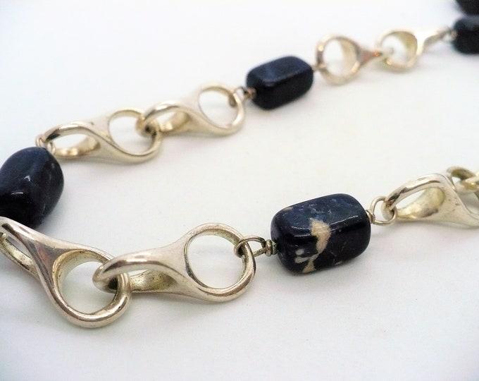 Unique Sodalite Specialty Silver Chain Vintage Necklace 30 inch