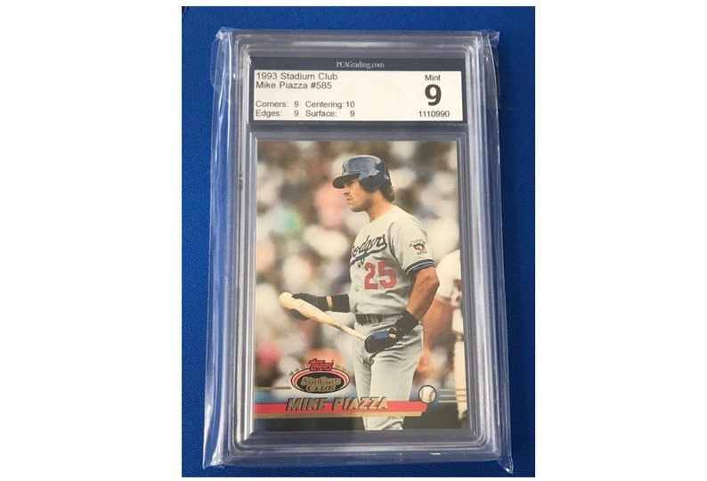 Pca 9 Topps 1993 Mike Piazza 585 Stadium Club Baseball Card Trading Card Vintage Sports Memorabilia Collectibles