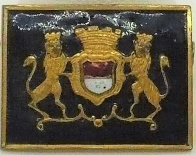 Antique Lions Rampant Coat of Arms Heraldic Badge Trombone Clasp