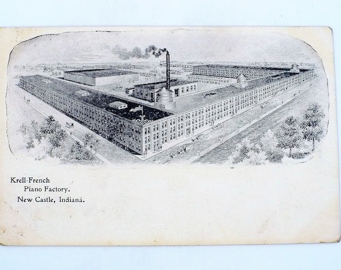 1907 Krell French Piano Factory New Castle Indiana Vintage Postcard Unposted