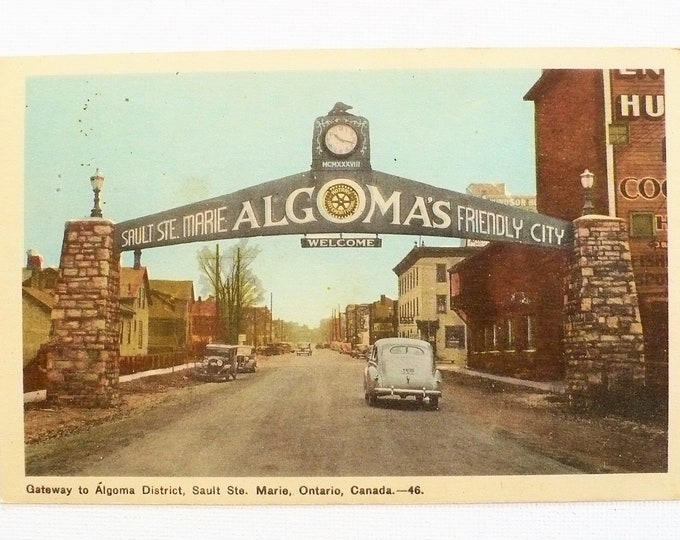 1948 Automobiles Gateway Algoma District Ontario Canada Vintage Postcard Posted